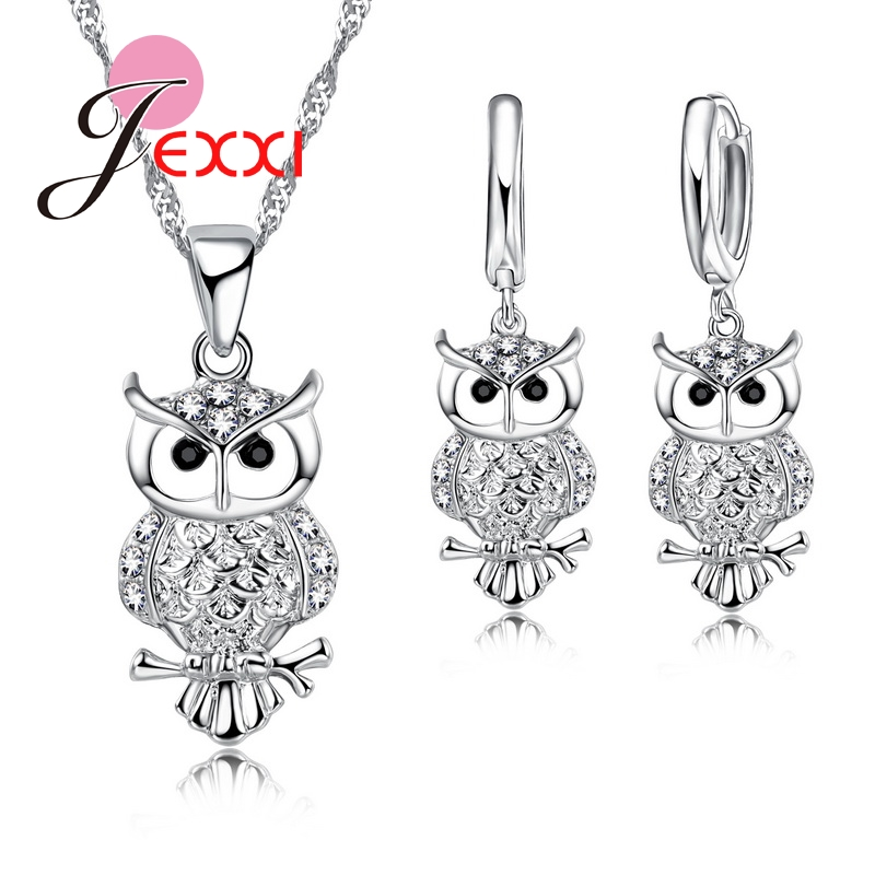 Fashion Cartoon Owl Animal Statement Necklace + Earrings 925 Sterling Silver Jewelry Sets Wedding Anniversary Bijoux