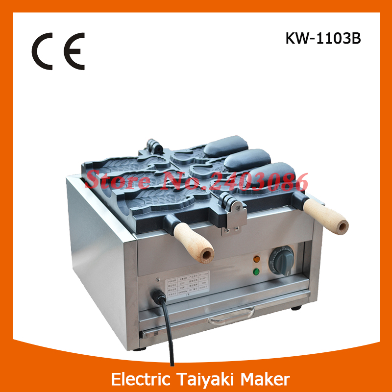 Commercial kitchen equipment 1 Plate 3pcs 150mm length fish shape open mouth electric ice cream Taiyaki Maker machine for sale taiyaki maker with ice cream filling taiyaki machine for sale ice cream filling to fish shaped cake fish cake maker