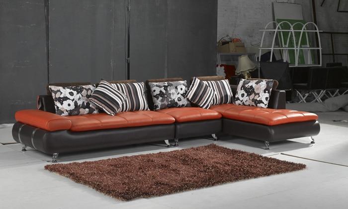 Free Shipping Genuine leather Sofa home furniture 2013 new design Top Grain Leather L Shaped Corner Sectional Sofa Set L616 стоимость