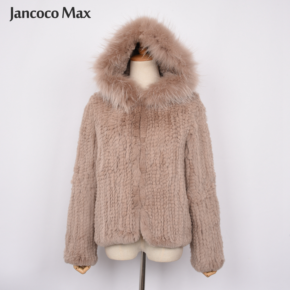 New Arrival Women Fashion Style Real Rabbit Fur Coat High Quality Hooded Fur Jacket Winter Soft Warm S7434 in Real Fur from Women 39 s Clothing