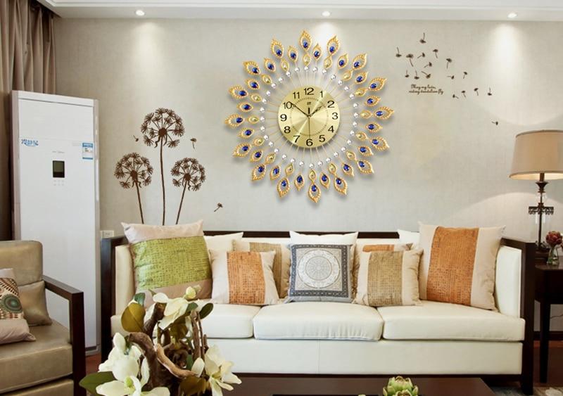 D grote pauw wandklok modern design interieur muur horloges