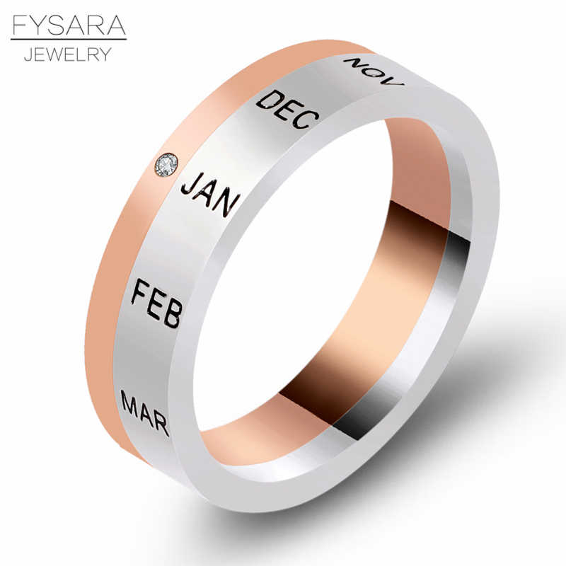 FYSARA 12 Months Zircon Rotating Ring Titanium Steel Rose Color Silver Turnable Ring Women Luxury Love Ring Middle East Jewelry