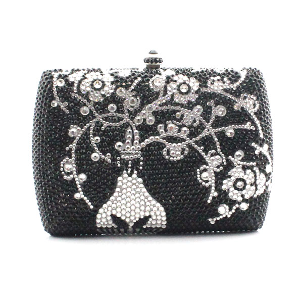 Custom handmade crystal bag with your own design full crystal women bags day clutch bags dinner bags(1015-SV) starting your day right ending your day right box set
