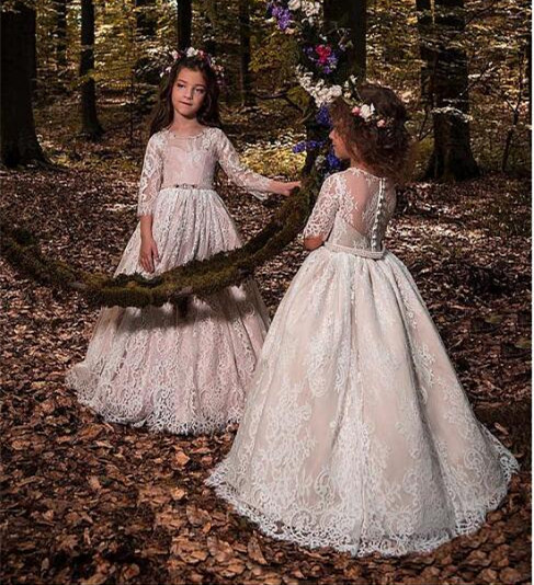 Gorgeous Ball Gown Flower Girl Dresses Tulle Lace Scoop Neckline With Lace Appliques Girls Communion Pageant Party Dress недорго, оригинальная цена
