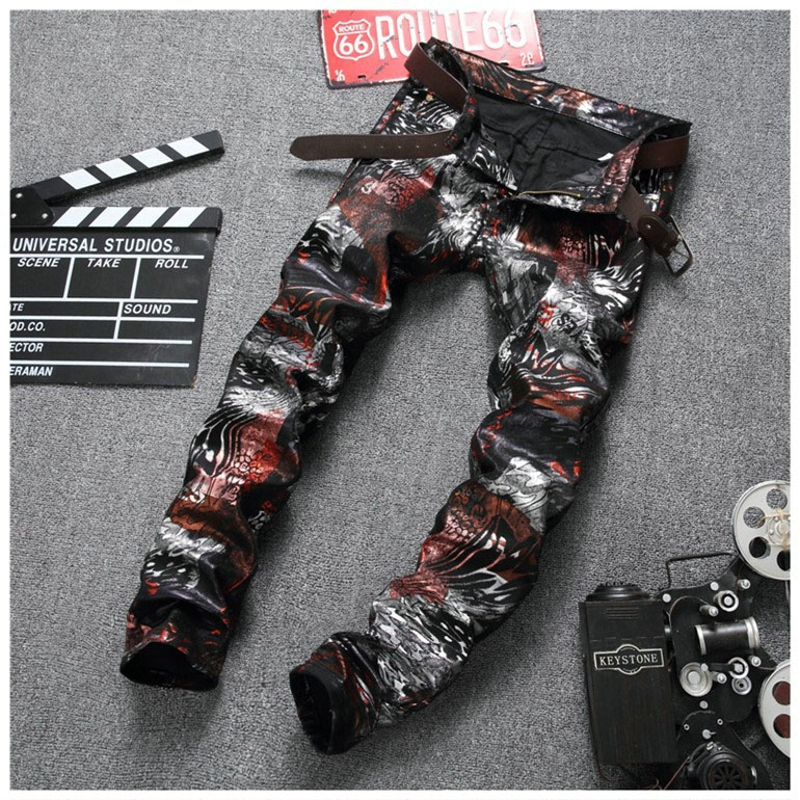 Hip Hop Printed Mens Jeans Trousers Men pantalon hombre Black Skinny Slim Jeans Men PU Leather Pants Men Jeans 2017 Denim BP669