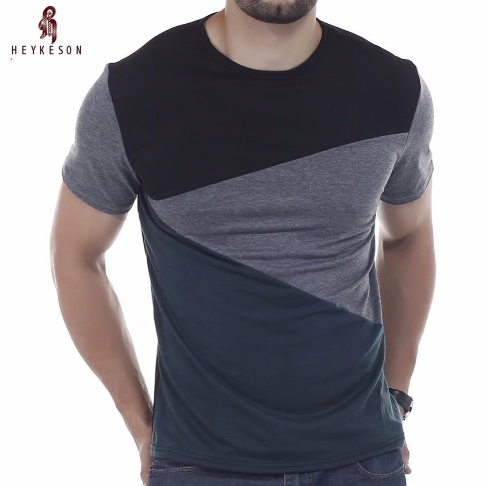 HEYKESON póló márka 2018 férfi rövid ujjú póló O-nyakú férfi póló Egyszerű splicing póló póló Homme T ingek 3XL DUNV