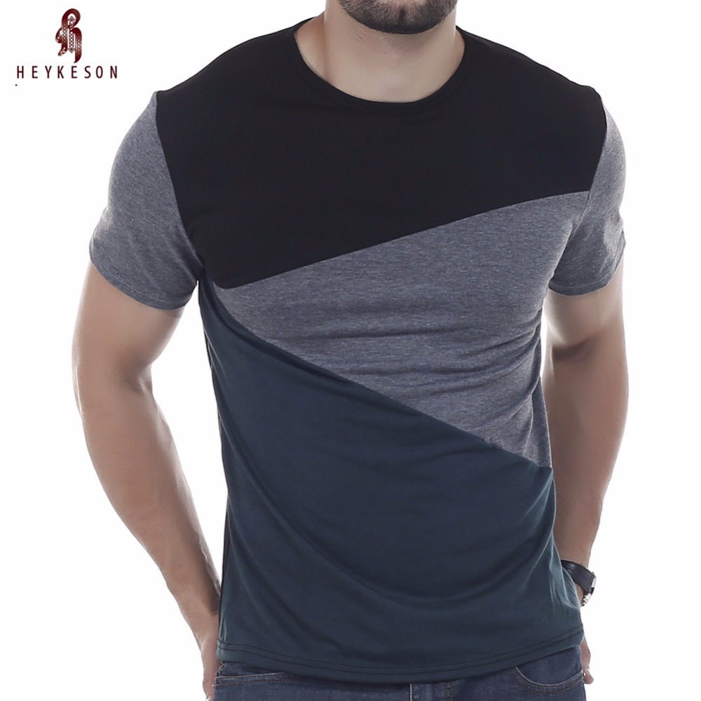 heykeson الزى ماركة 2018 الذكور قصيرة الأكمام تي شيرت س الرقبة الرجال القميص بسيط الربط تي قمم قميص أوم القمصان 3xl dunv
