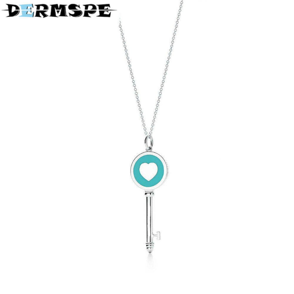TIFF 100% 925 Sterling Silver necklace heart key pendant Silver Necklaces Girls birthday gifts Jewelry wholesale tiff 100