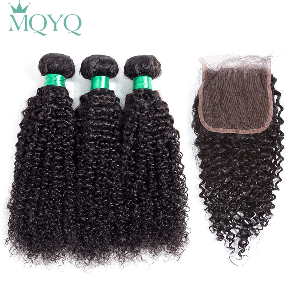 MQYQ Malaysian Curly Hair With Closure Free Part Kinky Curly 3pcs 100% Human Hair Weave Bundles With Lace Closure