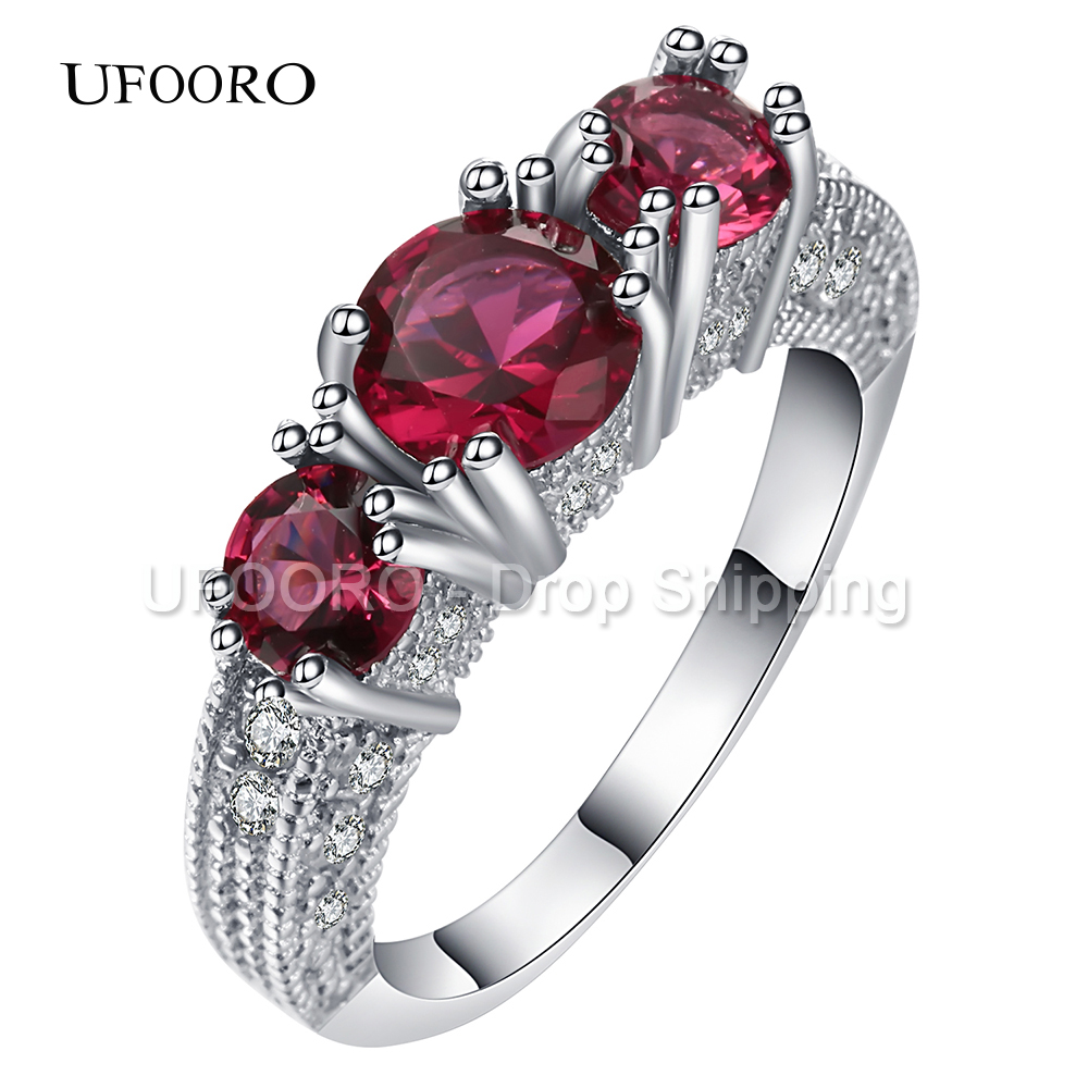 UFOORO Black Gun Promise Rings Pink Red Zircon 3 Stone Band Ring Men Women Vintage Jewelry Princess Engagement Rings Bague