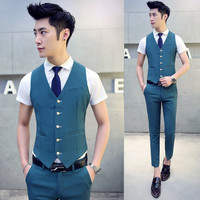 New Arrival Men Suit Dress Vests Men's Fitted Leisure Waistcoat Casual Business Jacket Tops Five Buttons 2017 Free shipping