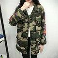 2016 autumn coat women fashion jacket women back printing camo jacket women basic coats long sleeve camouflage women long jacket