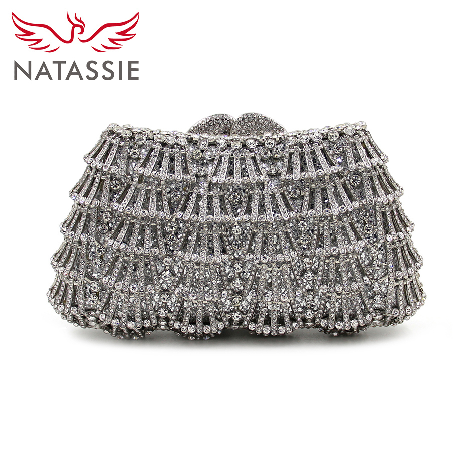 ФОТО NATASSIE Hollow Out Crystal Bags Silver Women Wedding Bag Diamond Evening Clutch Party Purse  Designer Handbags With Chain