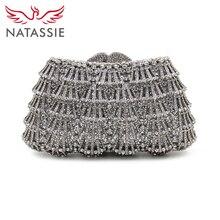 Natassie aushöhlen kristall taschen silber frauen hochzeit tasche diamant abend kupplung geldbörse designer-handtaschen mit kette