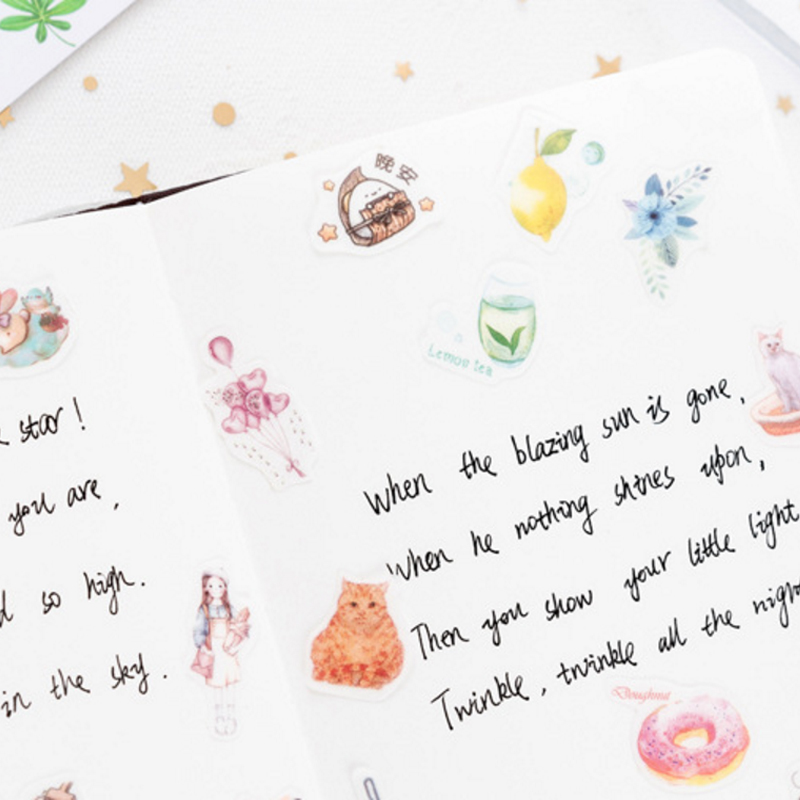 Купить с кэшбэком 40pcs/lot Flowers Plant Animal Series Stickers DIY Handmade Diary Ablum Decorative Paper  Scrapbooking Stickers Office School