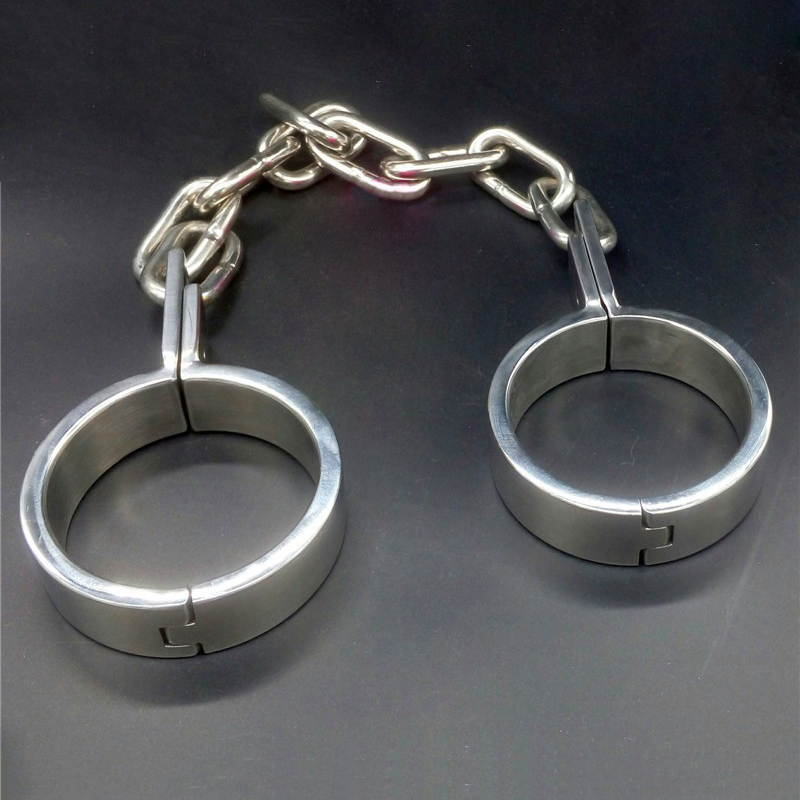 Stainless steel ankle cuffs metal bondage restraints adult gams slave BDSM fetish sex toys for couples chain shackles leg irons stainless steel leg irons long chain ankle cuffs sex products bdsm bondage restraints sex slave shackles sex toys for couples