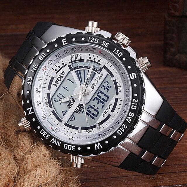 a1fcb1970b3 Mens Relógios Top Marca de Luxo Dos Homens Relógios Militares LED Digital  analógico de Quartzo Homem