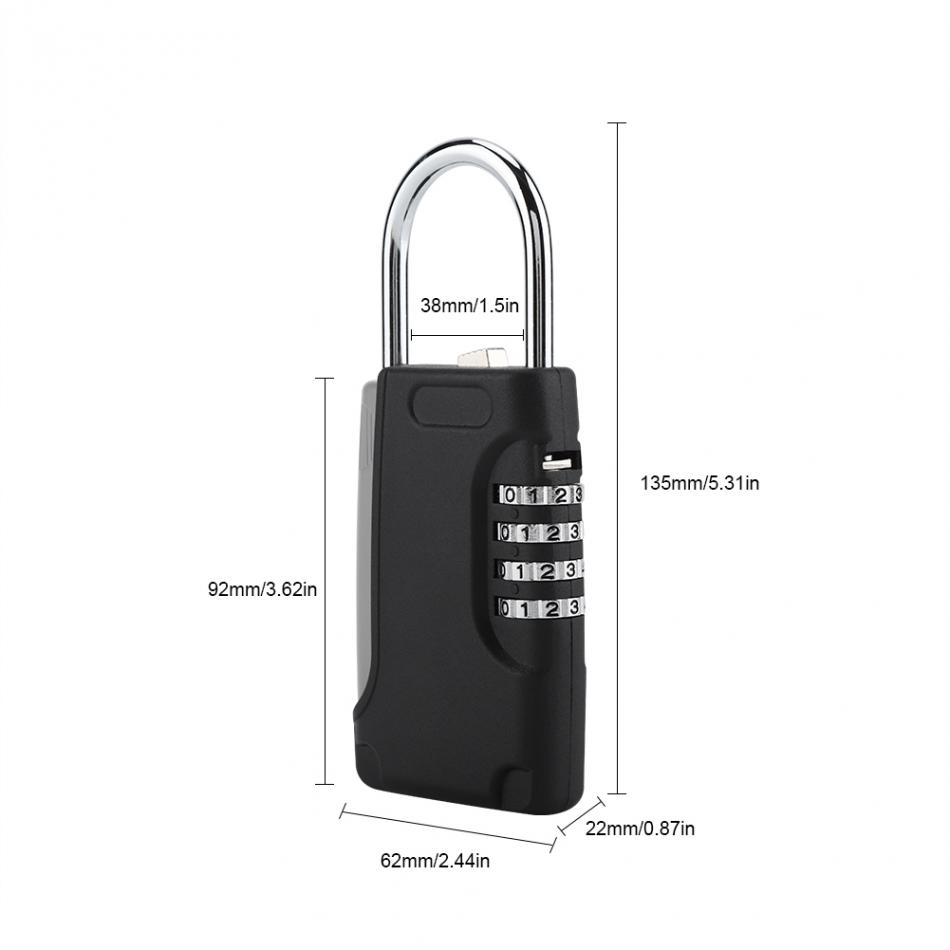 US $15 43 35% OFF|Portable 4 Digit Combination Lock Keyed Padlock Travel  Safe Security Keys Storage Box Holder Hanging Lock-in Locks from Home