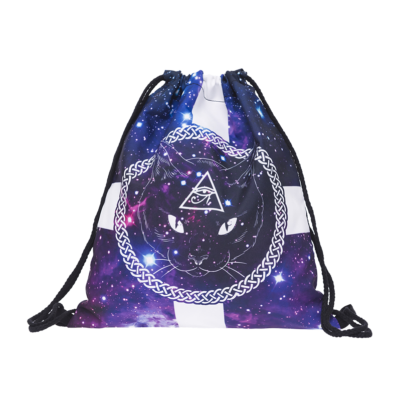 Galaxy cat cross eye 3D Printing mini backpack women drawstring bag mochila 2017 who cares school bags for teenagers sac a dos new mini portable make up brush set connectable type eye shadow brush with box eye shadow tools 4pcs set makeup cosmetic brushes