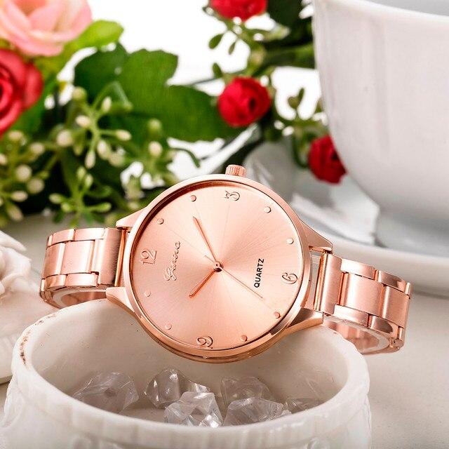 Fashion Women watches Men Simple Stainless Steel Analog Quartz Wrist Watch top b