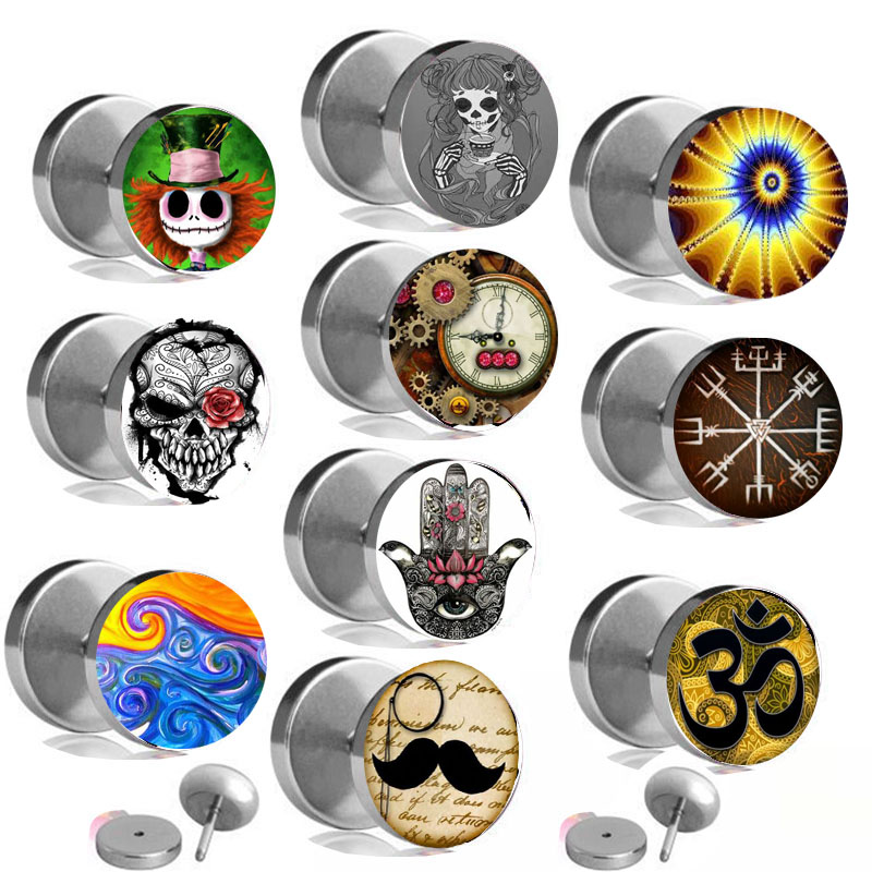 Flat Round Plug Ear Stud Fake Cheater Barbell Men Women Ring Piercing Earrings with different logos