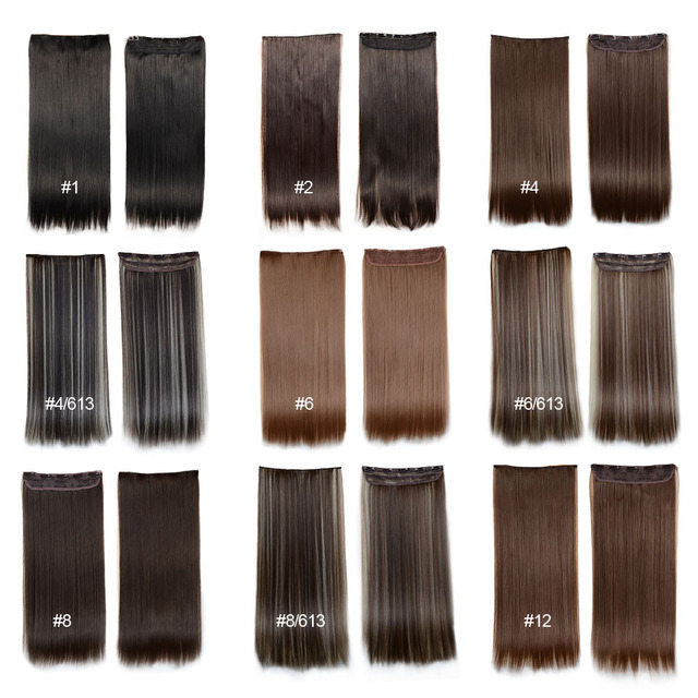 Clip In Hair Extensions 24inch 60cm 120g 5clips Long Straight  Synthetic Hair Clip in Synthetic Hair Extension Free Shipping