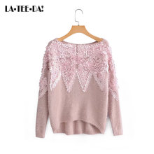 509fd6583e9a LTD1198375 ELYB Nueva Jersey apliques 3D flores las mujeres suéter de  cachemira de visón Streetwear dama cuello Top Vestidos