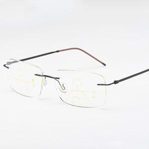 Image 3 - Óculos de leitura multifocal unissex, óculos de titânio para leitura, com lente multifocal, sem aro, para homens e mulheres, 2019