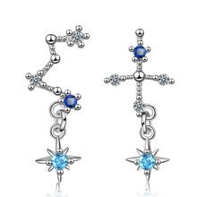 New Arrival Asymmetrical Star 925 Sterling Silver Earrings Zircon Tassel For Women Fashion Jewelry Gift