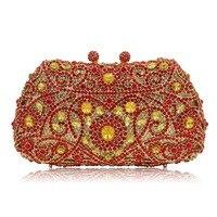 Moda rhinestones bolsos de embrague bolsos de noche de cristal bolso del banquete de boda drak oro/rojo/oro/verde/plata monedero de color