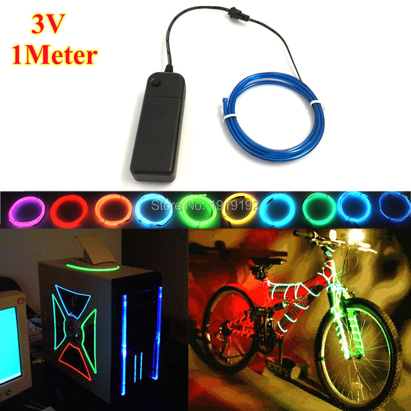 Colorful 1M EL Wire Tube Rope Battery Powered Flexible Neon Cold Light Car Party Wedding Decoration With DC-3V Controller