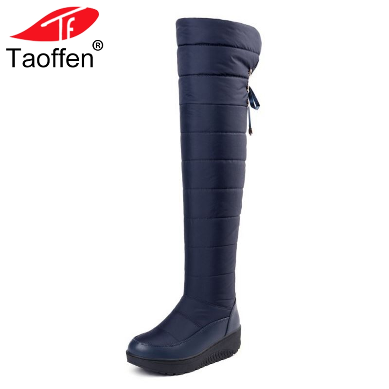 Taoffen Womens Fashion Cotton Leather Snow Boots Thigh High Long Boots Non-Slip Winter Warm Thick Fur Shoes Women Size 35-44 недорго, оригинальная цена