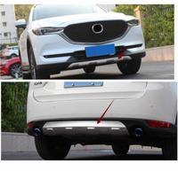 2pcs 자동차 보호 범퍼 스테인레스 트림 프론트 헤드/리어 후드 하단 몰딩 후드 부품 마즈다 CX-5 CX5 2nd Gen 2017 2018