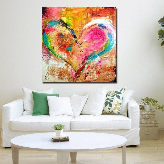 JQHYART Bunte Herz Malerei Wand Bilder Für Wohnzimmer Leinwand Kunst ...