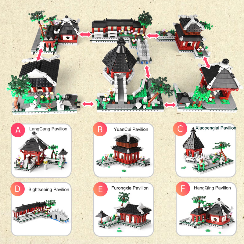 Suzhou Traditional Garden Building Blocks 2479pcs Xingbao 01110 Chinese Architecture Suzhou Gardens Bricks for Kids ad Adult Toy in Blocks from Toys Hobbies