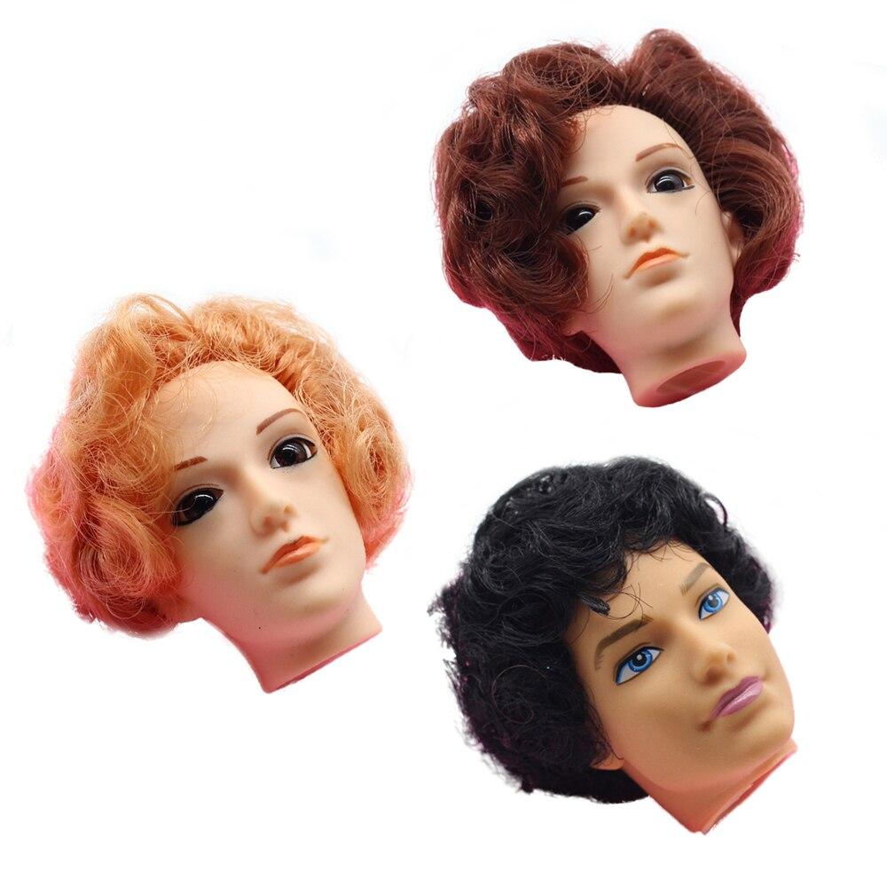 3D Eyes Golden Brown Black Hair Male Doll Head For Barbie Ken Male Doll Heads For Barbies Boyfriend Ken Doll Accessories