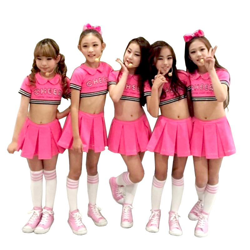 Child Red Cheerleader Costume Dance Dress For Girl Jazz -4235