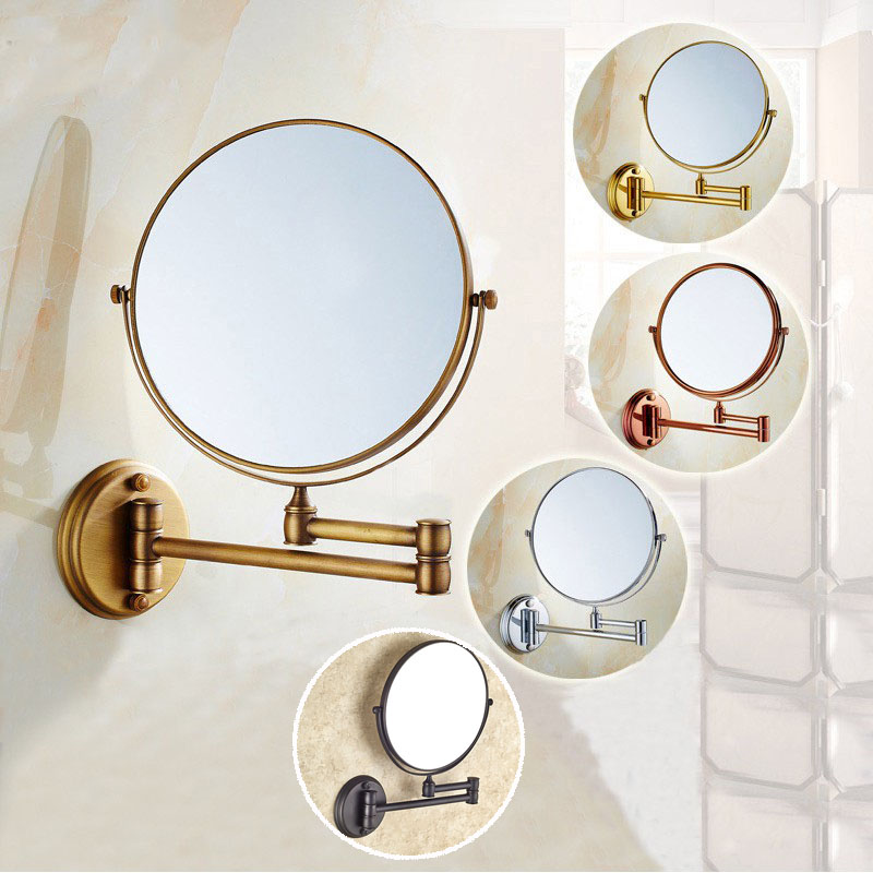 8 Inch Bath Mirror 3X Magnification Wall Mounted Adjustable Makeup Mirror Dual Arm Extend 2-Face Bathroom Mirror KD002