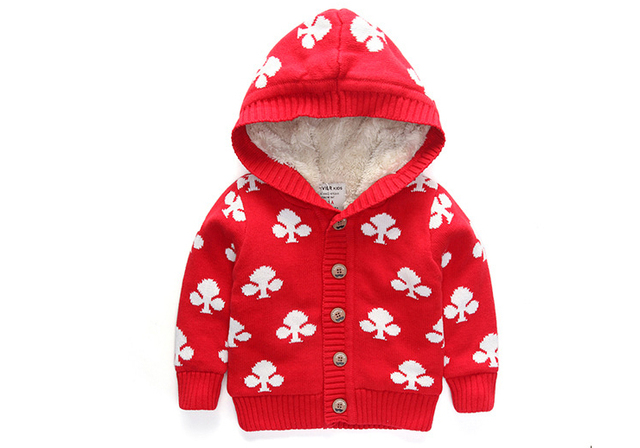 New Arrival Baby Girls Winter Hooded Sweater Girls Flower-print Thicken Warm Cardigan Kids Single-breasted Warm Coat