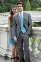 Custom Made Groom Tuxedos Grey Groomsmen Notch Lapel Wedding/Dinner Suits Best Man Bridegroom (Jacket+Pants+Tie+Vest) B589