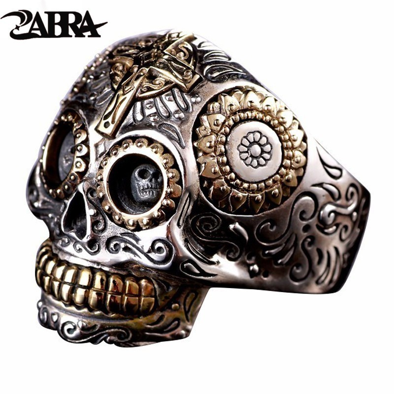 ZABRA Luxury Solid 925 Sterling Silver Skull Ring Men Vintage Punk Rock Cross Gold Big Heavy Man Gothic Rings Bague Homme Biker ring