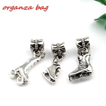 Hot ! 15pcs Antique silver Mixed  3D Roller skates Dangle Beads Fit Charm Bracelets DIY Jewelry (nm224)