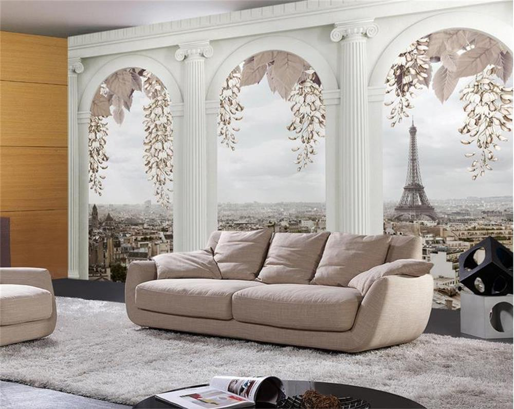 custom photo wallpaper/3d Non-Woven wallpaper/Paris scenery outside the window/TV/sofa/bedding room/KTV/bar/Hotel/living room ttlife wired gaming headphones computer 3d stereo new best casque deep bass game headsets with mic pc gamer usb for led light
