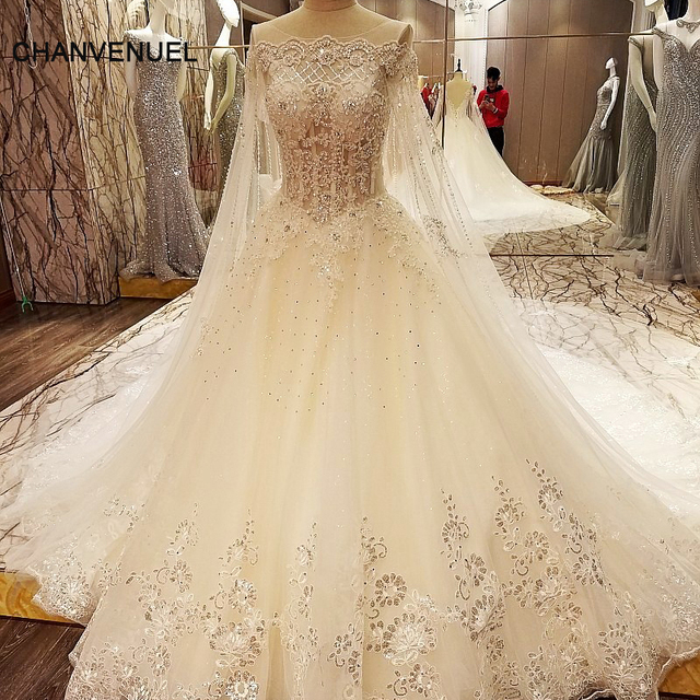 Ls97843 Lace Crystal Wedding Dresses With Long Cape Ball Gown Corset Back Abiti Da Sposa Ivory