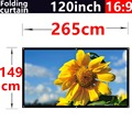 120 inch 16:9 white fiber folding soft curtain portable outdoor projector screen of 2.65 meters x1.49meters fast shipping