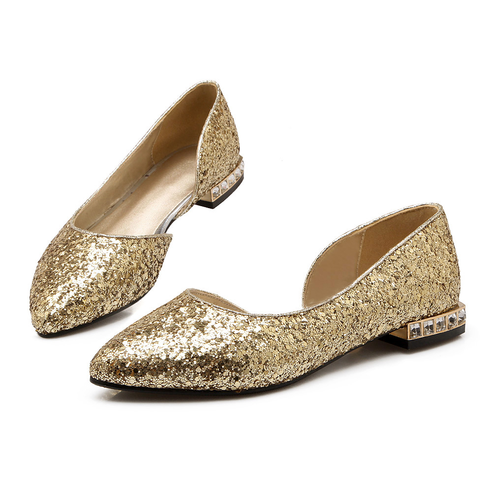 d3fa3e16b New fashion women shoes 2016 pointed toe women flat bridal shoes silver  gold flats women casual shoes driver ladies flat shoes