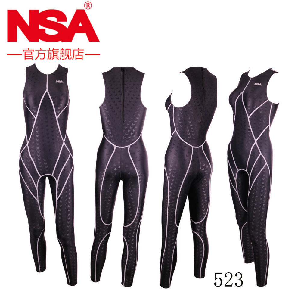 NSA unique design full body no sleeves unisex lycra swimwear sharkskin waterproof men bodysuit swimming wetsuits diving suit 523 hot sale hbxy back zip waterproof women spandex bodysuit swimming full body suit for women lycra body suits men