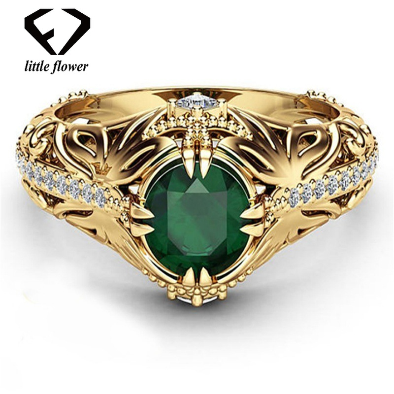 14K Gold Diamond Emerald Wedding Ring Jewelry Ornament Etoile Anillos diamond Bizuteria for Women Emerald Jade 14K Gold Diamond Emerald Wedding Ring Jewelry Ornament Etoile Anillos diamond Bizuteria for Women Emerald Jade 14K Gemstone Ring