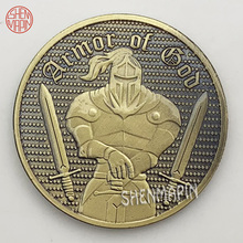 Armor Warrior Commemorative Coin Helmet Shield Coins Collectibles Armor knight Liberty Honor Challenge Coin Ancient Bronze special forces sniper challenge coin double sided embossed ancient bronze commemorative coin military coins collectibles