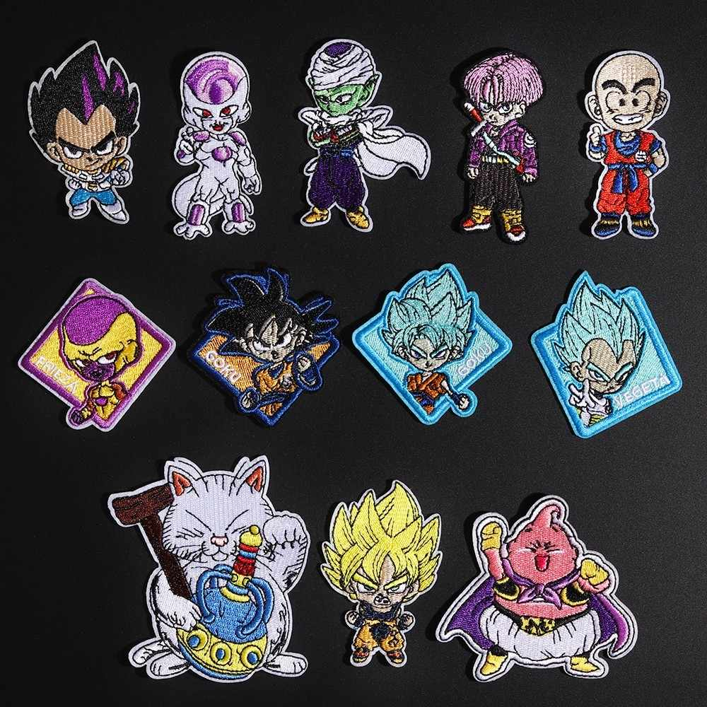 Cartoon Snake Finker Anime Dragon Ball Goku Patches Iron On Embroidered Clothes Patches For Clothing Stickers Garment Wholesale